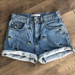 Zara high waisted denim pineapple print shorts